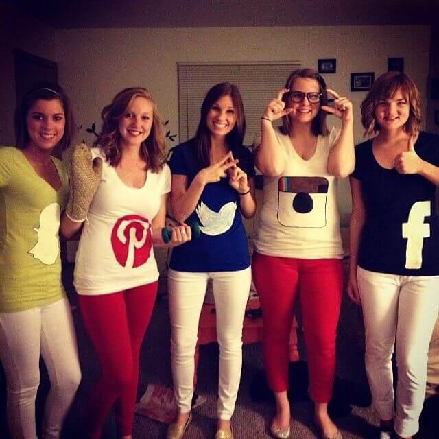 social media apps group halloween costume