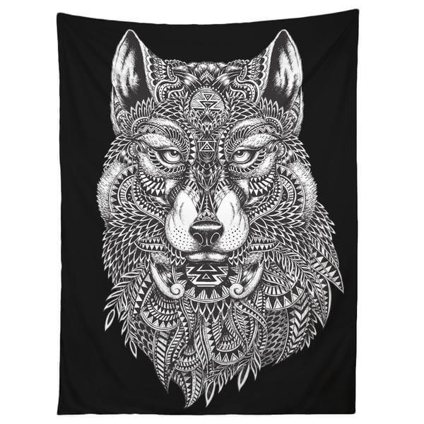 a black and white tribal wolf tapestry gifts for college guys