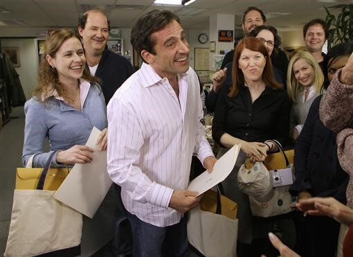 "Actor Steve Carell receives certificates for his three Screen Actors Guild Awards nominations on the set of the television show ""The Office,"" in Panorama City, California"