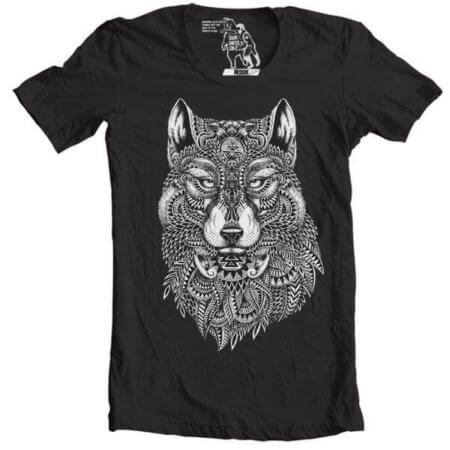 tribal wolf tshirt