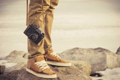 man-and-vintage-photo-camera