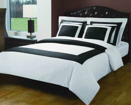 7PC White Black Extra Long Twin XL size Hotel Down Alternative