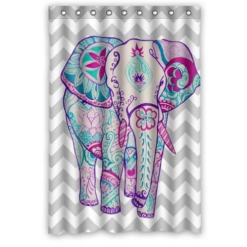 chevron colorful floral aztec elephant waterproof bathroom fabric shower curtain