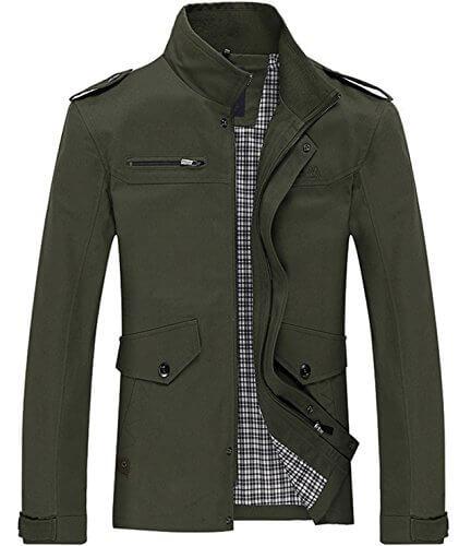 Lega Men's Casual Thick Jacket Cotton Stand Collar Windbreaker ...