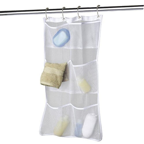 Quick Dry Hanging Caddy And Bath Organizer With 6 Pocket Hang On Shower Curtain Rod Liner