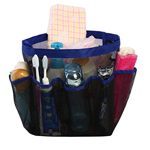 Shower Caddy Tote quick dry hanging toiletry and bath organizer with 8 storage