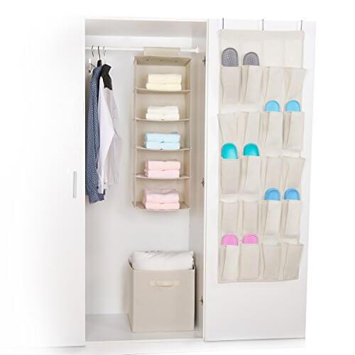 Sorbus set of 3 foldable storage box cube basket hanging closet shelves organizer hanging - Shoe box storage shelves ...