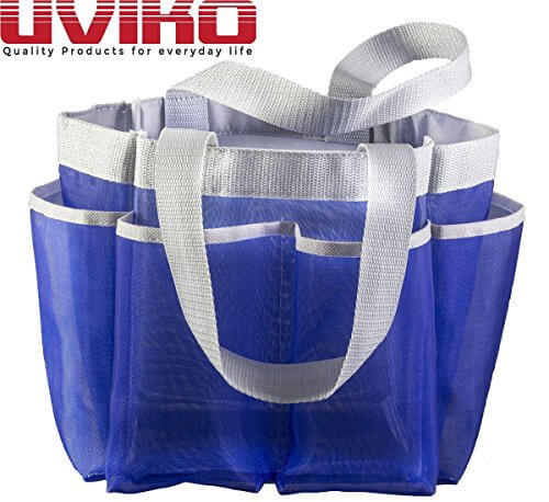 "Mesh Shower Tote uviko™ rust proof royal blue ""mesh tote"" shower caddy with handle"