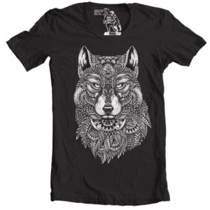 Tribal wolf tee for sexy guys
