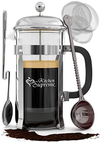 French Press Coffee & Tea Maker Complete Bundle 8-Cups, 34 Oz Best Coffee Press Pot with ...