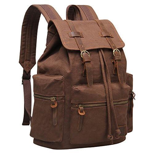 Hynes Eagle Vintage Canvas Leather Backpack Rucksack - College ...