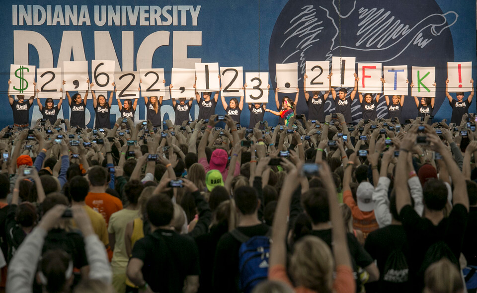 IUDM volunteers cheering after raising over $2 million.