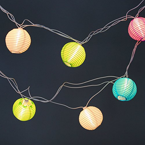 Plug In String Lights Indoor : Set of 10 Indoor/Outdoor Mini Oriental Style Nylon Lantern Plug-in String Lights - Expandable to ...