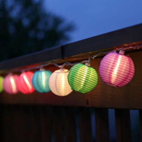 Mini Patio String Lights : Set of 10 Indoor/Outdoor Mini Oriental Style Nylon Lantern Plug-in String Lights - Expandable to ...