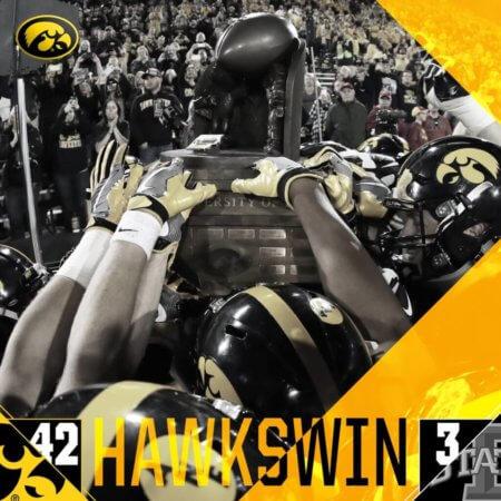 Iowa Hawkeyes win football trophy