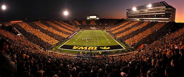 A crowded Iowa Hawkeyes football stadium
