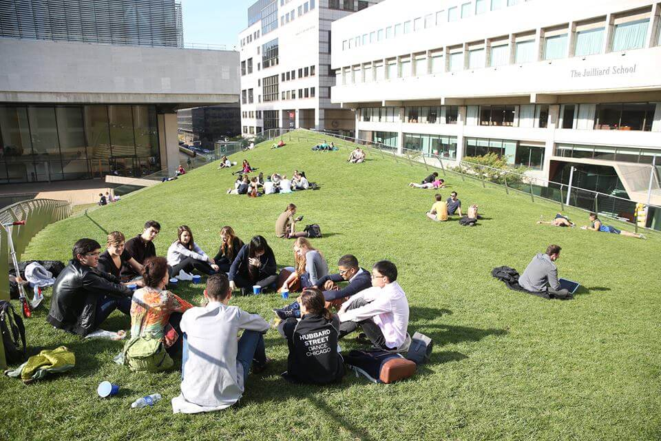 Students gathered on the Julliard campus