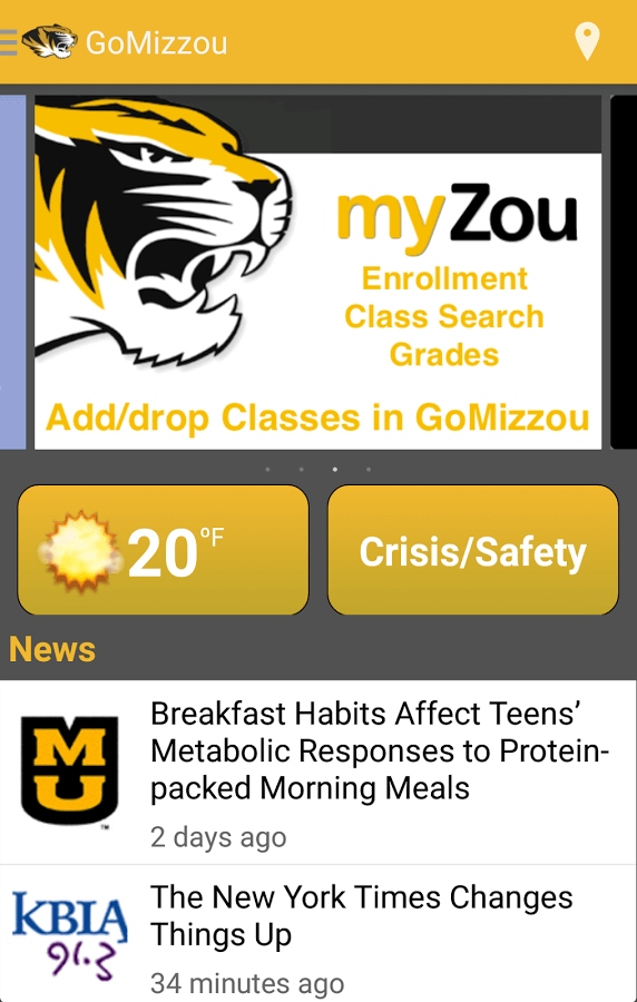 Look at the screenshot of the Mizzou app.