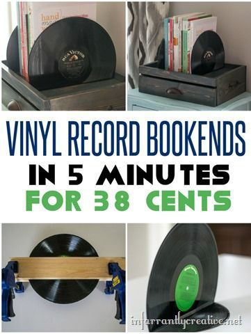 DIY Vinyl Bookend for your Hipster Friend