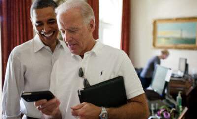 Biden and Obama pose becomes a classic 2016 meme.