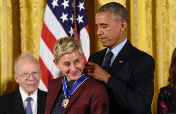 Obama honors an emotional Ellen Degeneres with a 2016 Presidential Medal of Freedom.