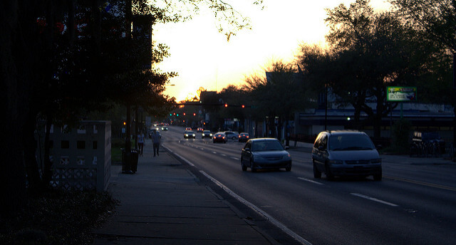 A streetside view of University Avenue in Gainesville at dusk.