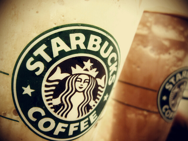 A closeup of the Starbucks logo on two iced drinks.