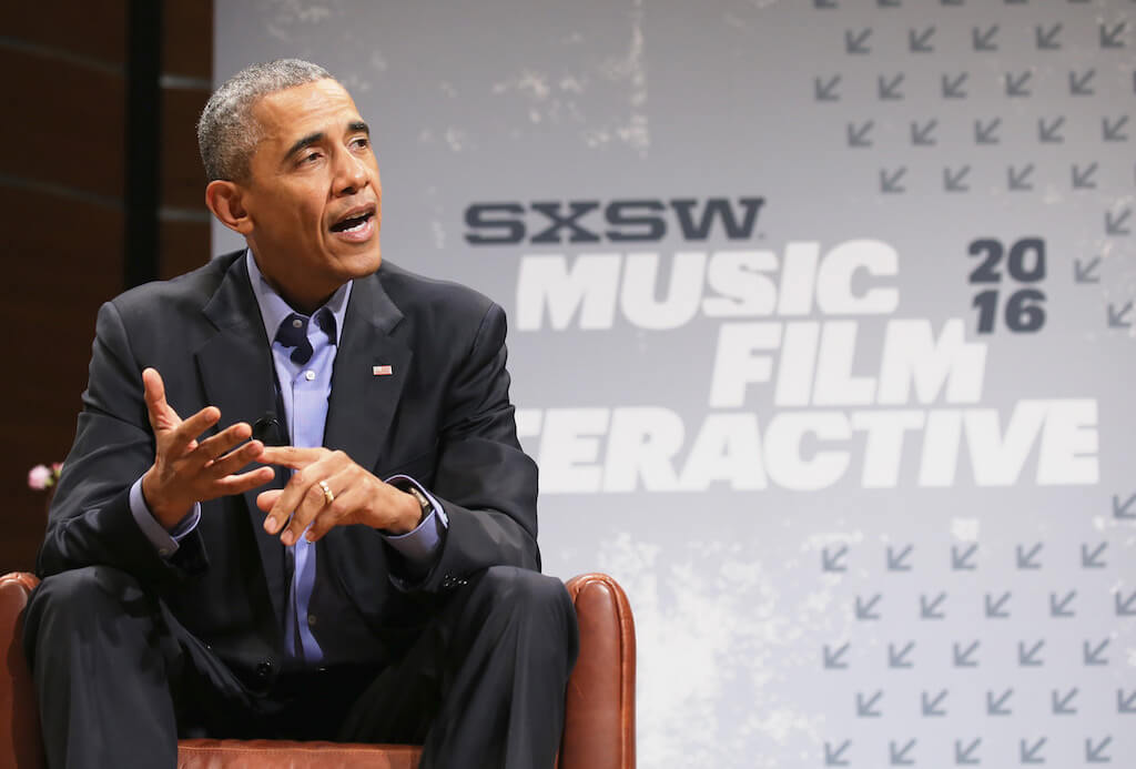 President of the United States Barack Obama speaks during the 2016 SXSW Music, Film + Interactive Festival at Long Center on March 11, 2016 in Austin, Texas.