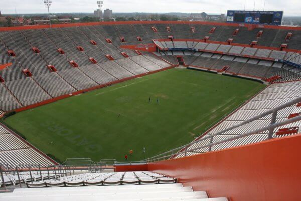 A view of an empty Ben Hill Griffin Stadium in gainesville