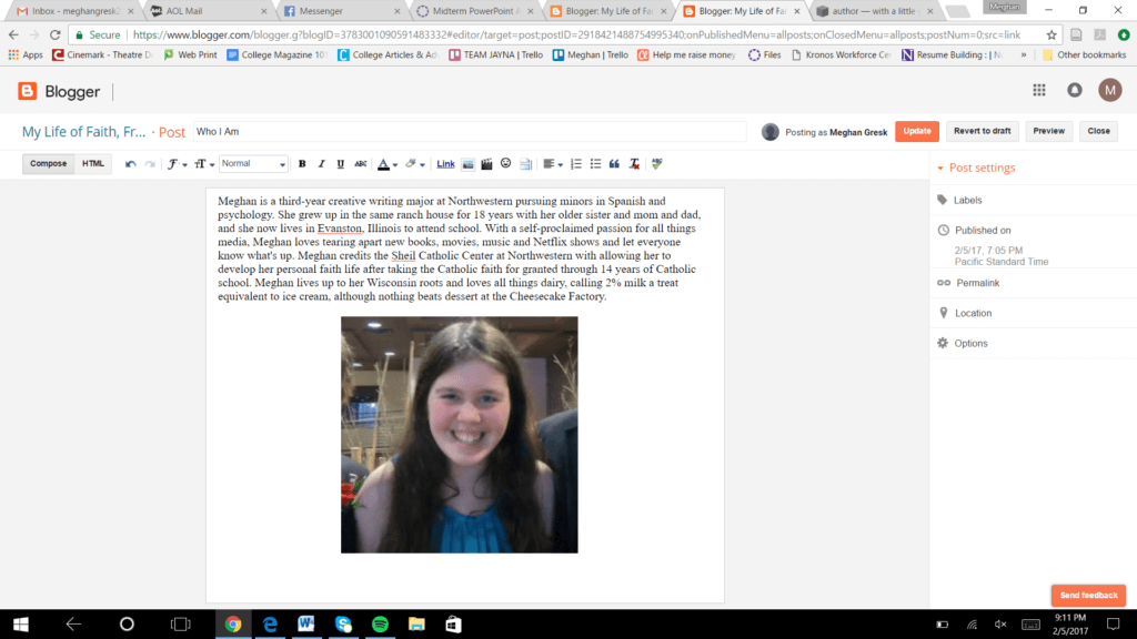 when building your first website, have a portfolio bio on personal blog with picture