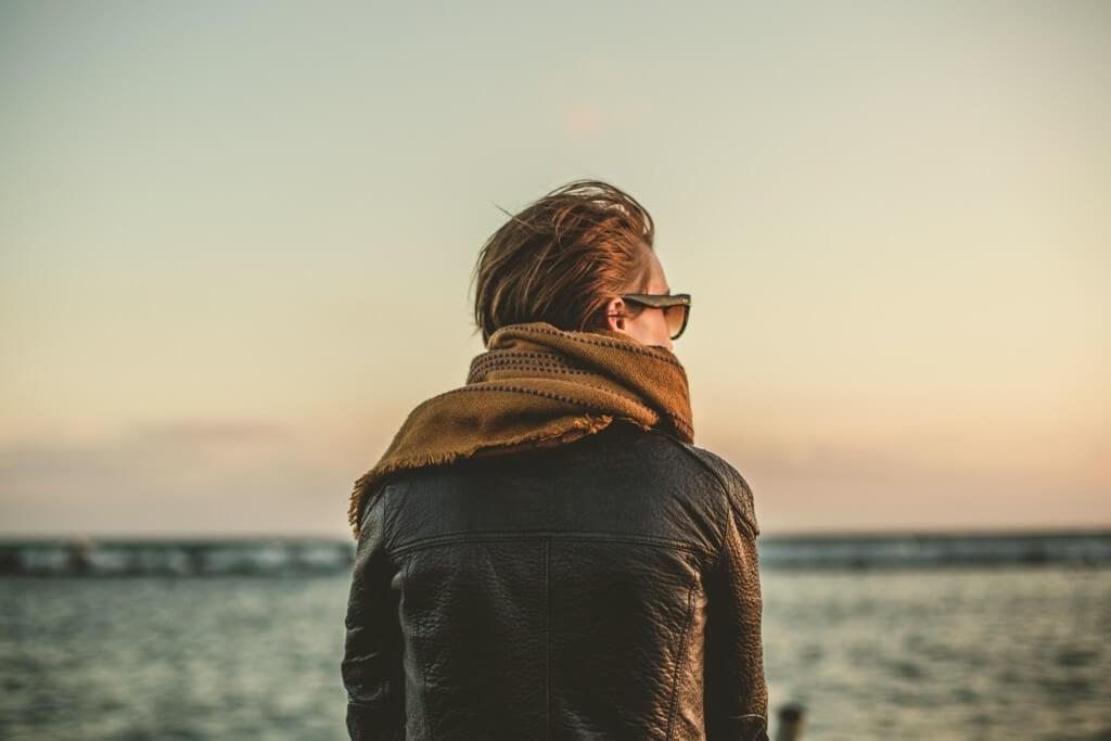 Girl Overlooking Ocean Image