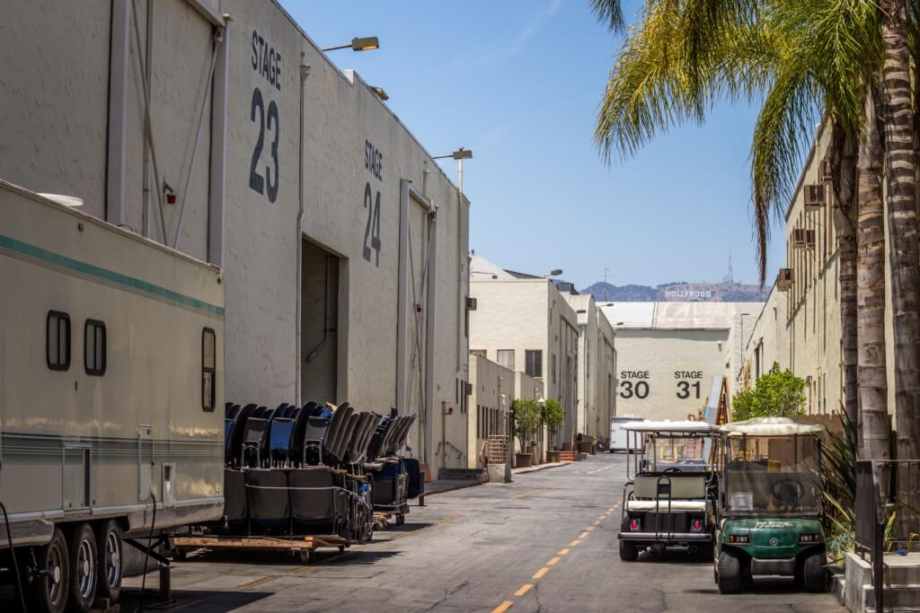 the backlot of a set