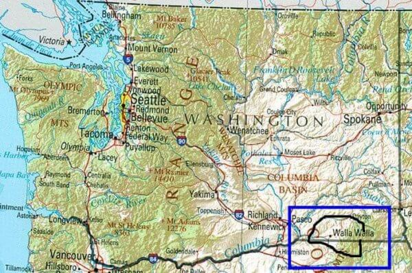 Walla Walla is barely on the Washington map.