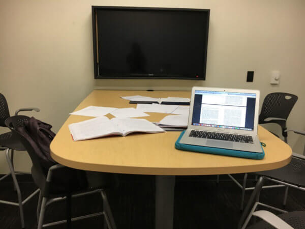 Study materials in a study room