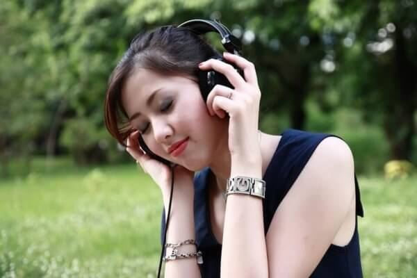 Listening to music picture