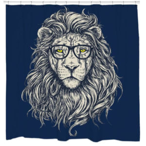 hipster lion shower curtain