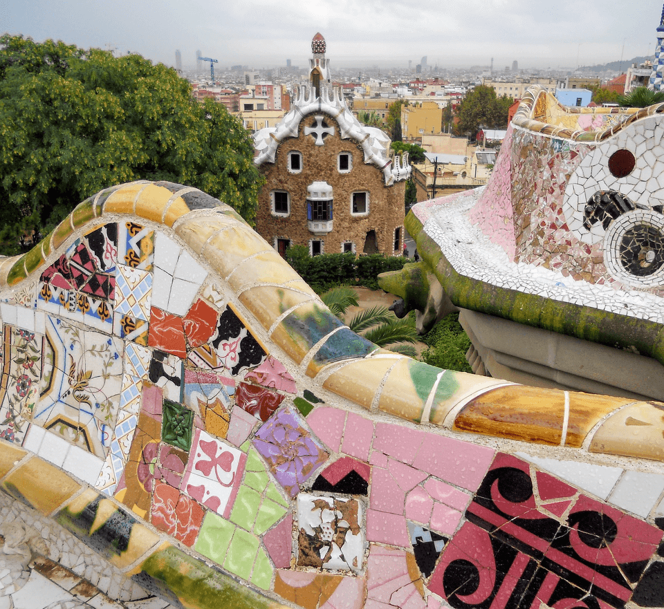 Mosaics at Park Guell in Barcelona, Spain