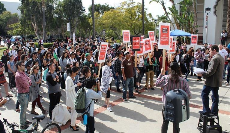 student organizations at SDSU protest