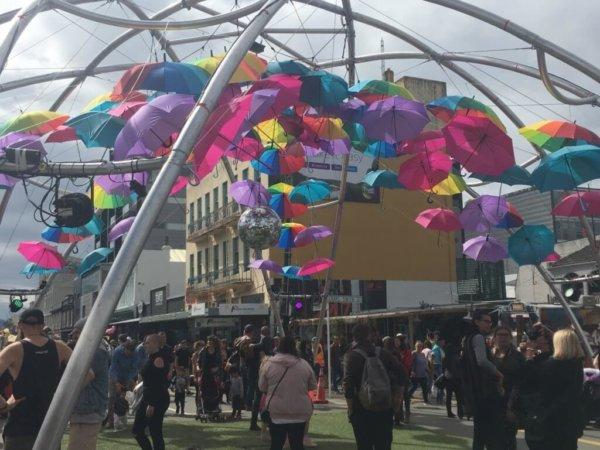 umbrella, Cuba Street, New Zealand, Wellington, festival
