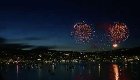 fireworks, stars, city at night, night life