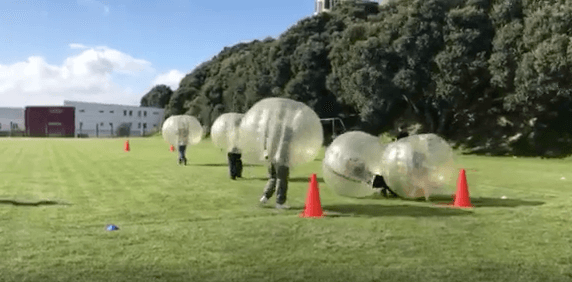 bubble soccer, friends