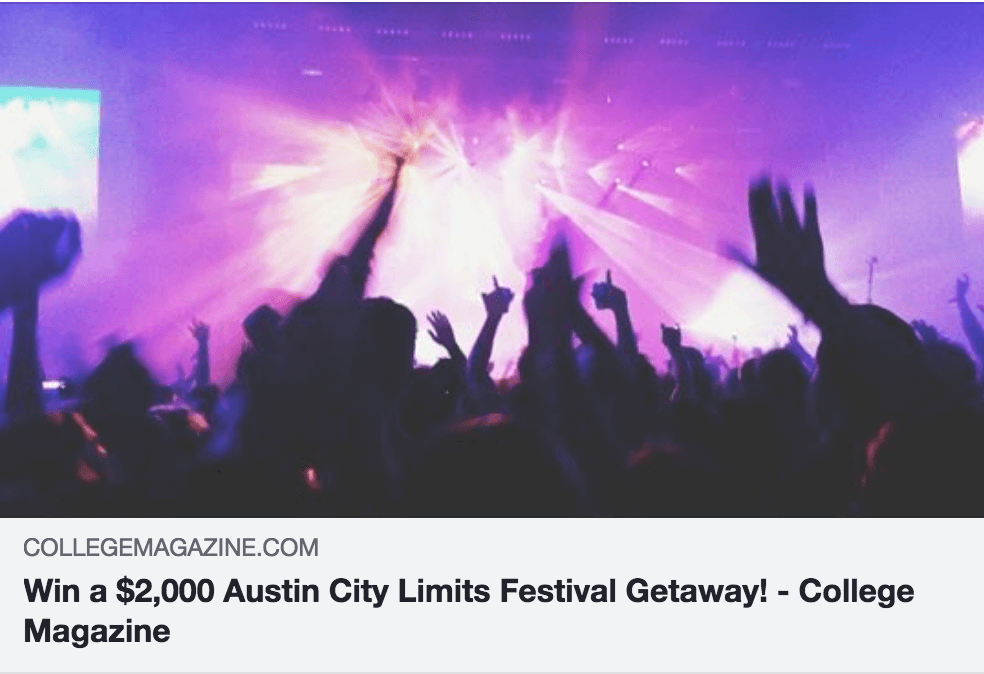 college magazine music festival giveaway