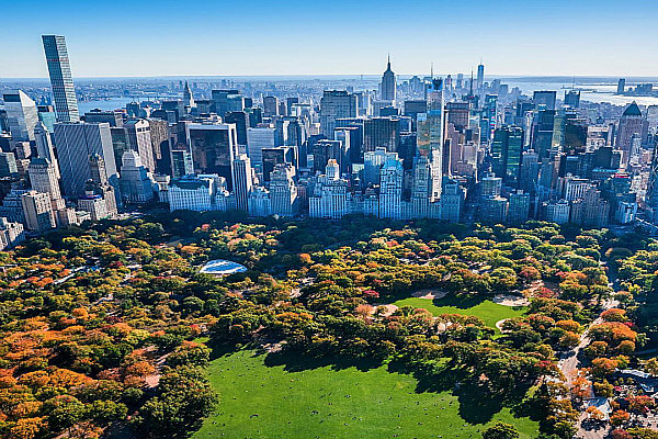 Central Park from above in the fall.