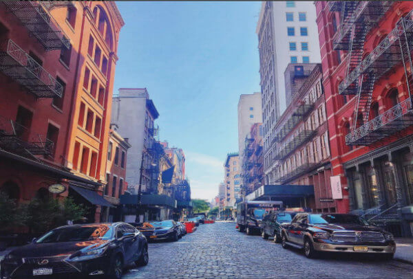 Picture of the cobblestone streets in SOHO.