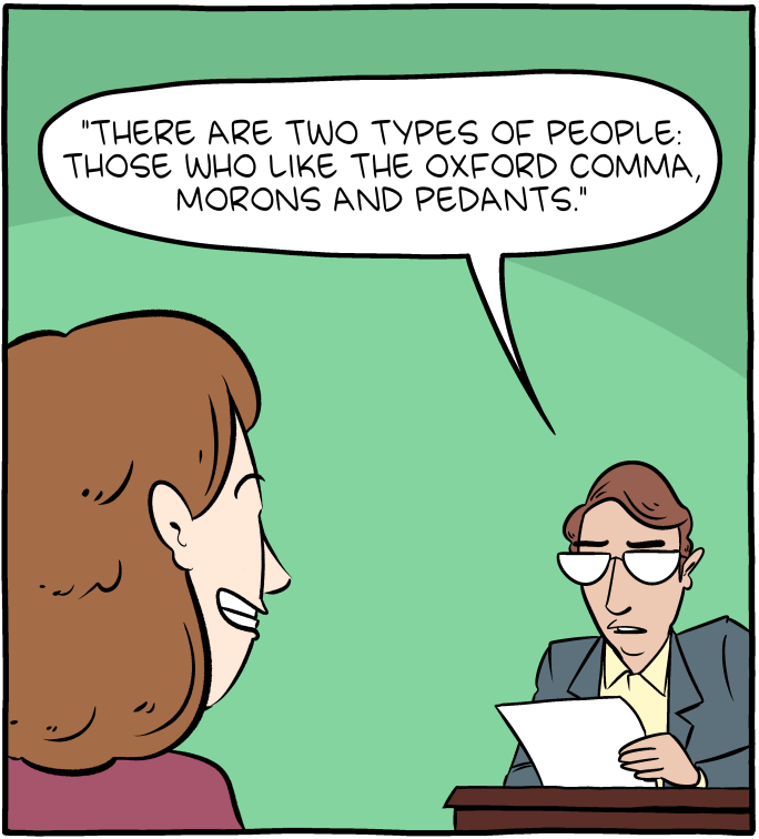 why to use the oxford comma comic