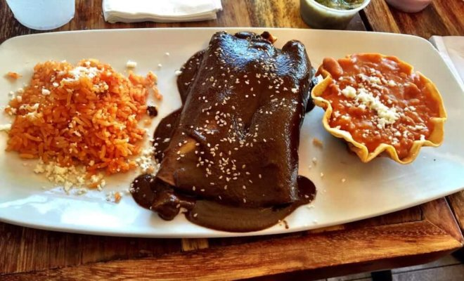mole enchiladas at Los Agaves in Santa Barbara