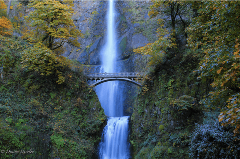 Waterfall and Bridge at Multnomah Falls