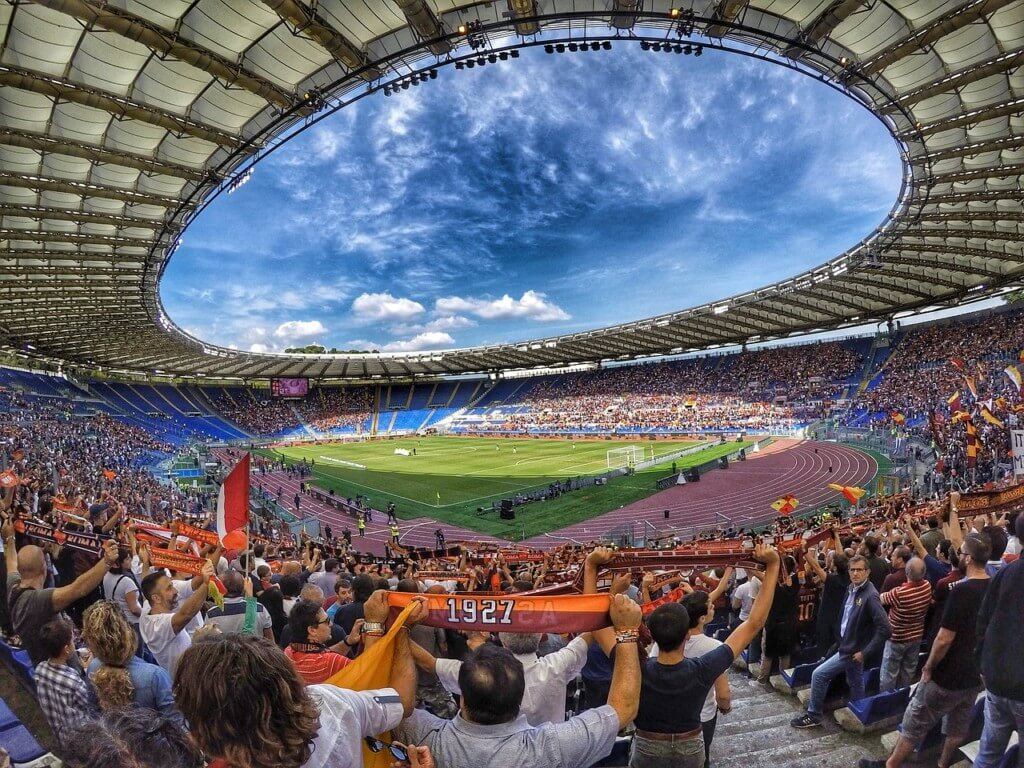 football stadium with screaming fans