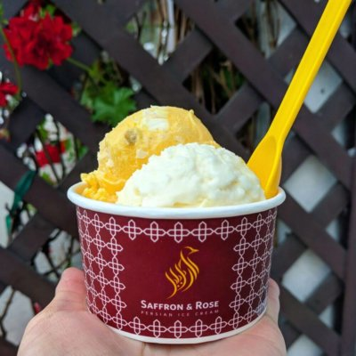Ice cream cup from Saffron and Rose (UCLA Food)