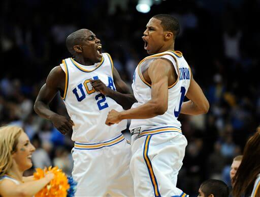 UCLA's Darren Collison, left, and Russell Westbrook celebrate a win